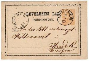 (I.B) Austria/Hungary Postal : Postcard 2kr (Hradek 1872)