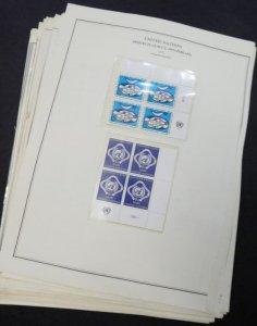 EDW1949SELL : U.N. GENEVA Almost Cplt sets of Inscription Blks 1970-87 VF MNH
