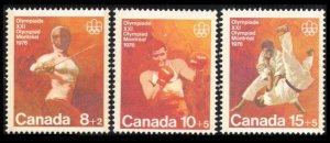 CANADA 1975 B7-B9 MNH OLYMPICS COMBAT SPORTS CPL SET SEMI-POSTAL CV $1.75