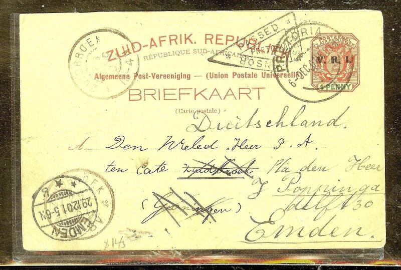 TRANSVAAL (P0106B) 19011D PSC CENSOR TO GERMANY FORWARDED TO HOLLAND