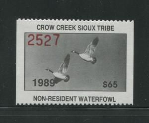 1989 Crow Creek Sioux Indian Reservation Waterfowl Stamp #7 Mint Never Hinged VF
