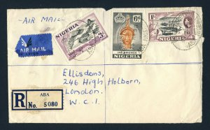 NIGERIA to ENGLAND 1958 Registered Air Mail Cover ABA to LONDON