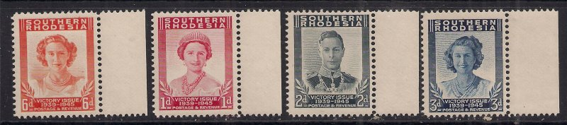 Southern Rhodesia 1947 KGV1 Set 4 Victory stamps Umm SG 64 - 67 ( F1055 )