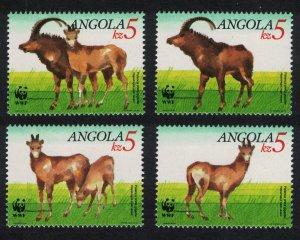 Angola WWF Giant Sable Antelope 4v SG#926-929 MI#799-802 SC#781-784 CV£10+