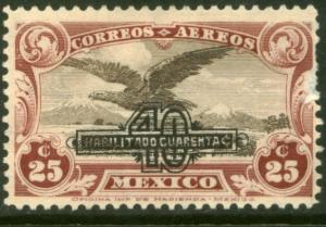 MEXICO C47, 40c on 25c SURCHARGED EAGLE IN FLIGHT, MINT, NH. F-VF