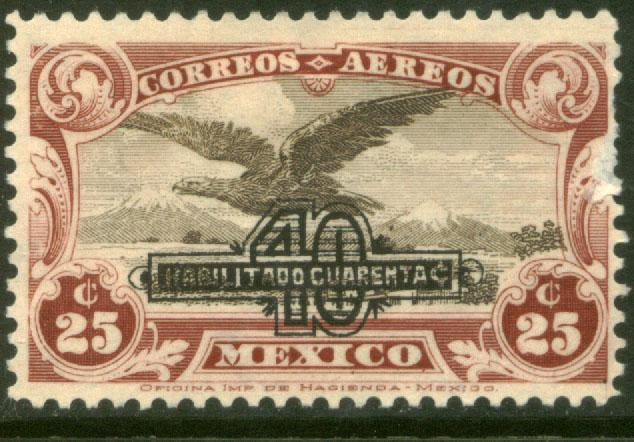 MEXICO C47, 40 on 25c SURCHARGED EAGLE IN FLIGHT, MINT, NH