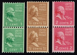 US STAMP #848-850 1-2¢ Washington 1939 Presidential Series Rotary Coil MNH PAIR