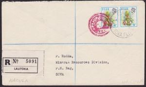 FIJI 1978 Registered cover NACULA mailbag seal cancel in red................5991