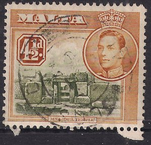 Malta 1938 - 43 KGV1 4 1/2d Olive Green/Yellow Brown used SG 224 ( K1050 )