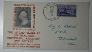 Stamp Clubs Of OH Columbus OH 1951 3c Postage Philatelic Expo Cachet Cover