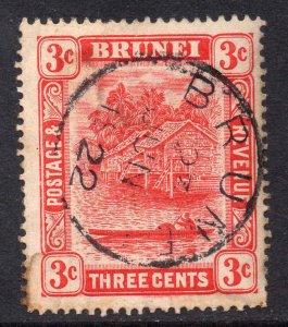 Brunei 1908 Canoe 3c scarlet die II wmk MCCA SG 38 used CV £38