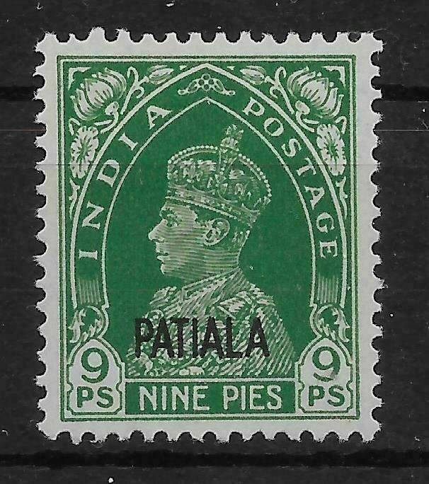 INDIA-PATIALA SG100 1941 9p GREEN MTD MINT