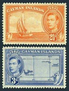 Cayman 114-115,MNH.Michel 107,109. King George VI.Cayman schooner,Map,Shells.