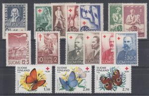 Finland Sc B20/B243 MNH. 1935-1990 issues, 4 cplt sets + 3 singles, VF