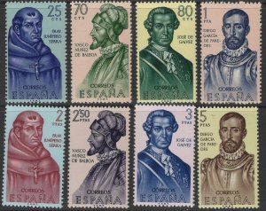 SPAIN SG1587/94 1963 EXPLORERS & COLONISERS OF AMERICA MNH
