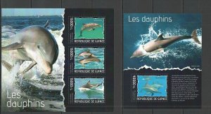 ST681 2014 GUINEA DOLPHINS FAUNA MARINE LIFE KB+BL MNH STAMPS