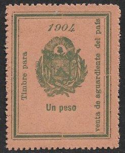 EL SALVADOR 1904 1Peso ARMS Sales Tax on Brandy Revenue Ross 161 MNGAI