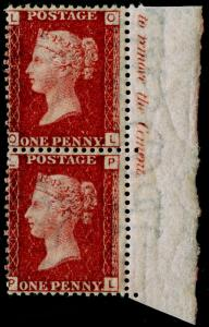 SG43, 1d rose-red plate 124, NH MINT. PAIR with MARGINAL INSCRIPTIONS. OL PL