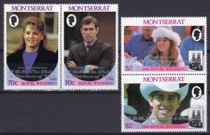 Montserrat 1986 Sc# 628ab-629ab ROYAL WEDDING ovpt.silver Set (4) MNH