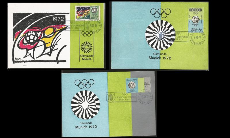 RJ) 1972 MEXICO, XX MUNICH OLYMPIC GAMES 72, SET OF 3 GUTEMBERG POSTCARD