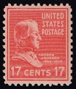 US STAMP #822 – 1938 17c Andrew Johnson MNH SUPERB