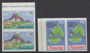 MAURITIUS SG415/6 1970 LUFTHANSA FLIGHT IMPERF PAIRS MNH