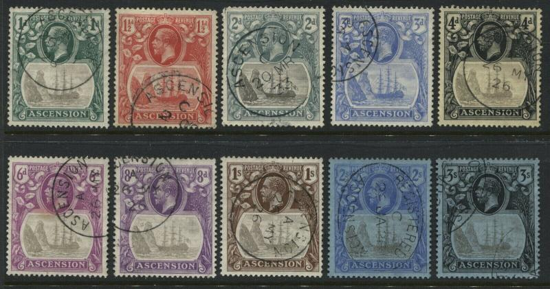 Ascension KGV 1924 1d to 3/ used
