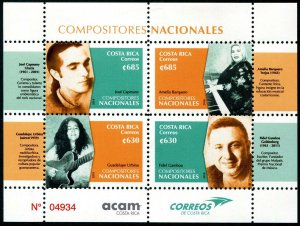 HERRICKSTAMP NEW ISSUES COSTA RICA Sc.# 696 Composers Sheetlet
