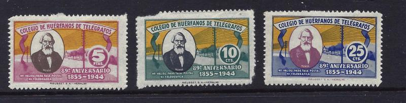 Spain Telegraph Set of 3 mh fvf $0.50 BIN