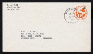 US SCOTT #UC4 PLANE 6 CENT POSTAL STATIONARY SALISBURY MD 1951