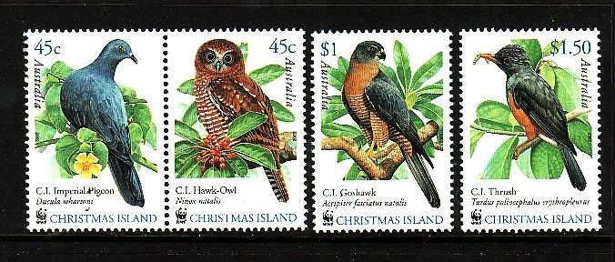 Christmas Is.-Sc#437-9-unused NH set-Birds-WWF-2002-