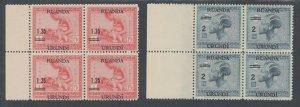 Ruanda Urundi Sc 35-36 MNH. 1931 Surcharges, Matched Choice Sheet Margin Blocks