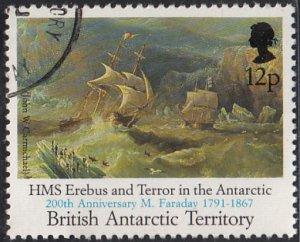 British Antarctic Territory 1991 used Sc #188 12p HMS Erebus, Terror Faraday O/P