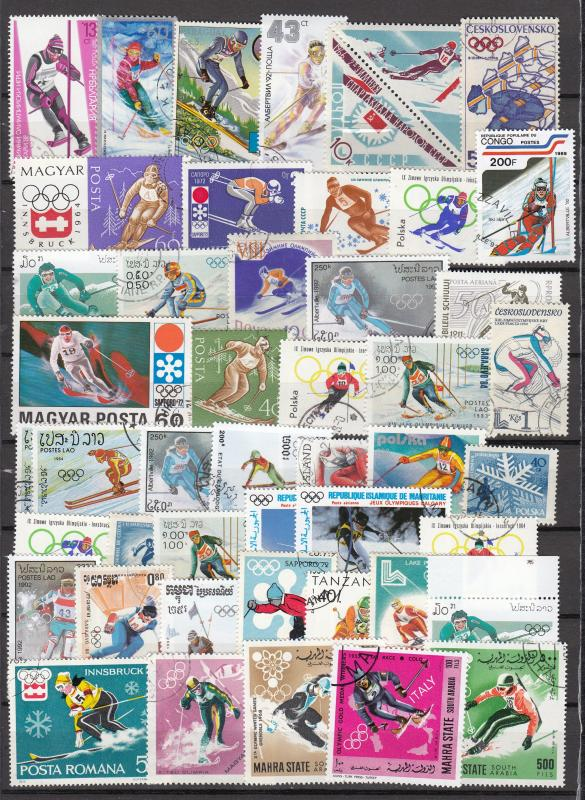 Skiing sport - 47 small stamp lot - (2331)