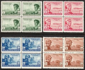 Stamp Croatia Sc B33-6 1943 Block WWII Russia Legion Panzer Soldier War MNH