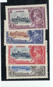 CYPRUS KGK(090) # 136-139 VF-MH KGV JUBILEES CAT VALUE $15+