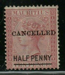 Mauritius Stamp SC# 47 1877 ½p on 10p cl Queen Victoria 42 surch in black type c
