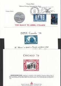 US 1976 Lot of 5 Unique Philatelic Society Souvenir Cards