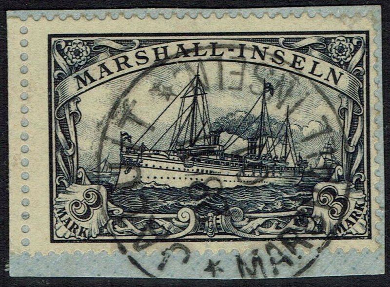 MARSHALL ISLANDS 1901 YACHT 3MK USED ON PIECE