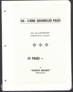Top Quality Harco 3-Ring Quadrille Pages 60# WEIGHT- 35 Pages Total New