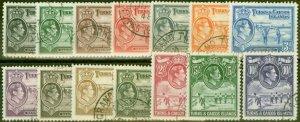 Turks & Caicos 1938-45 set of 14 SG194-205 Fine Used
