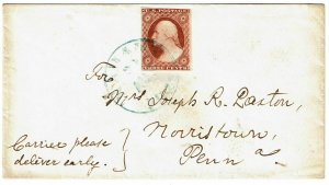 1850's Nahant, MA cancel in blue on cover, with 3c type I, Scott 10
