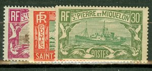 B: St Pierre & Miquelon 136//158 mint missing 156, 159 CV $154; scan shows a few