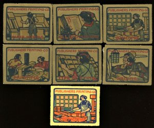 1910s PUBLISHERS PRINTING CO US Poster Stamp (X7)