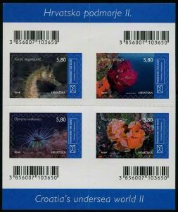 HERRICKSTAMP NEW ISSUES CROATIA Undersea World II Sheetlet (Seahorse, Anemone)