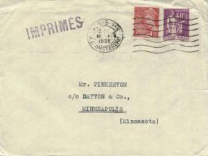 France 5c Mercury and 40c Peace with Olive Branch 1938 Paris 118, R. d'Amster...
