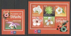 PK450 2015 UNION ISLAND FLOWERS OF TAIWAN #7604-07 MICHEL 21 EURO KB+BL MNH