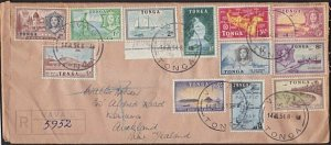 TONGA 1954 Registered cover VAVAU to NZ with definitives to 5/-.............J526