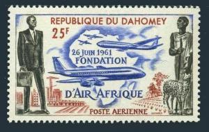 Dahomey C17,MNH.Michel 191. AIR AFRIQUE 1962.Modern & Ancient Africa.Plane,Sheep