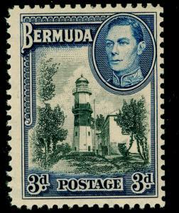 BERMUDA SG114a, 3d black & deep blue, LH MINT.